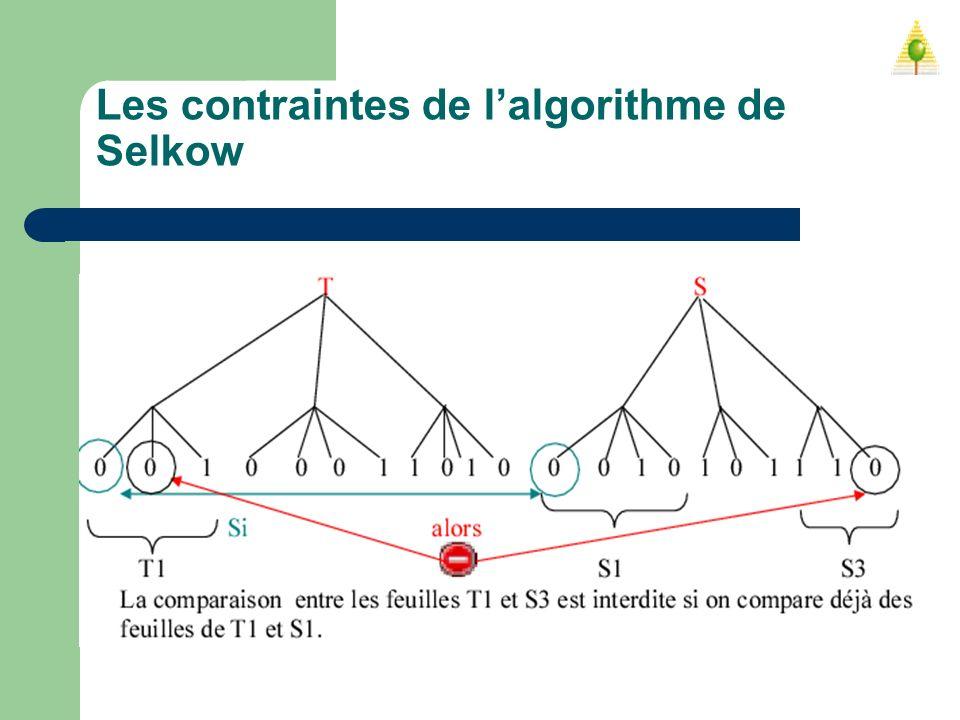 Les contraintes de lalgorithme de Selkow