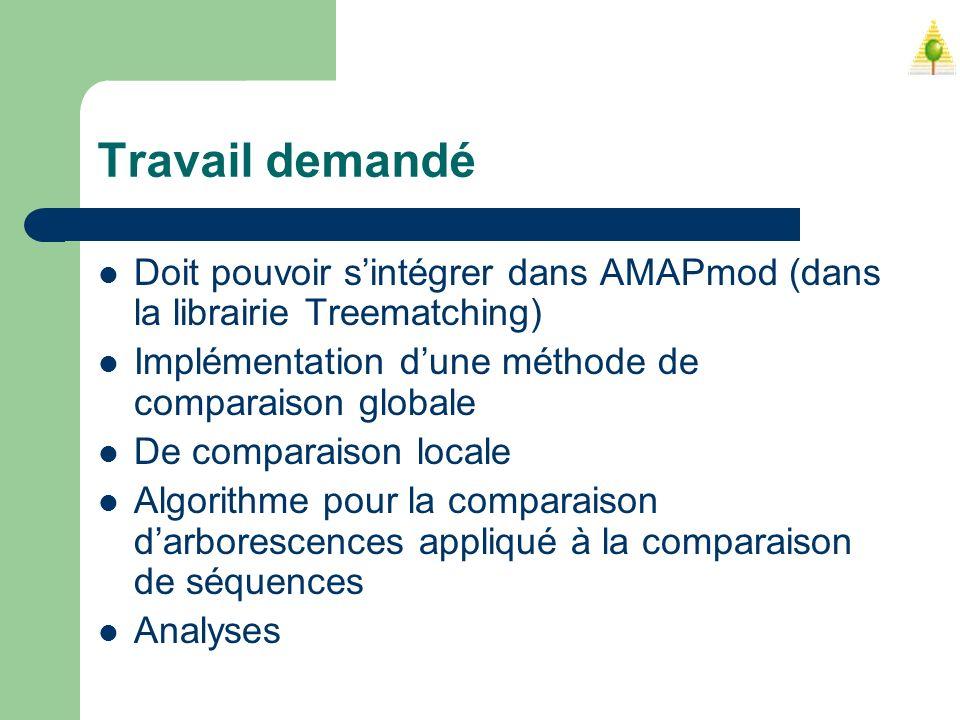 Travail demandé Doit pouvoir sintégrer dans AMAPmod (dans la librairie Treematching) Implémentation dune méthode de comparaison globale De comparaison