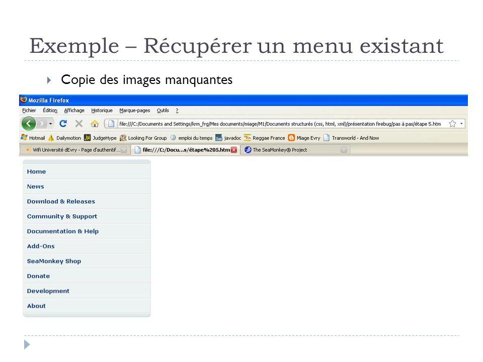 Exemple – Récupérer un menu existant Copie des images manquantes