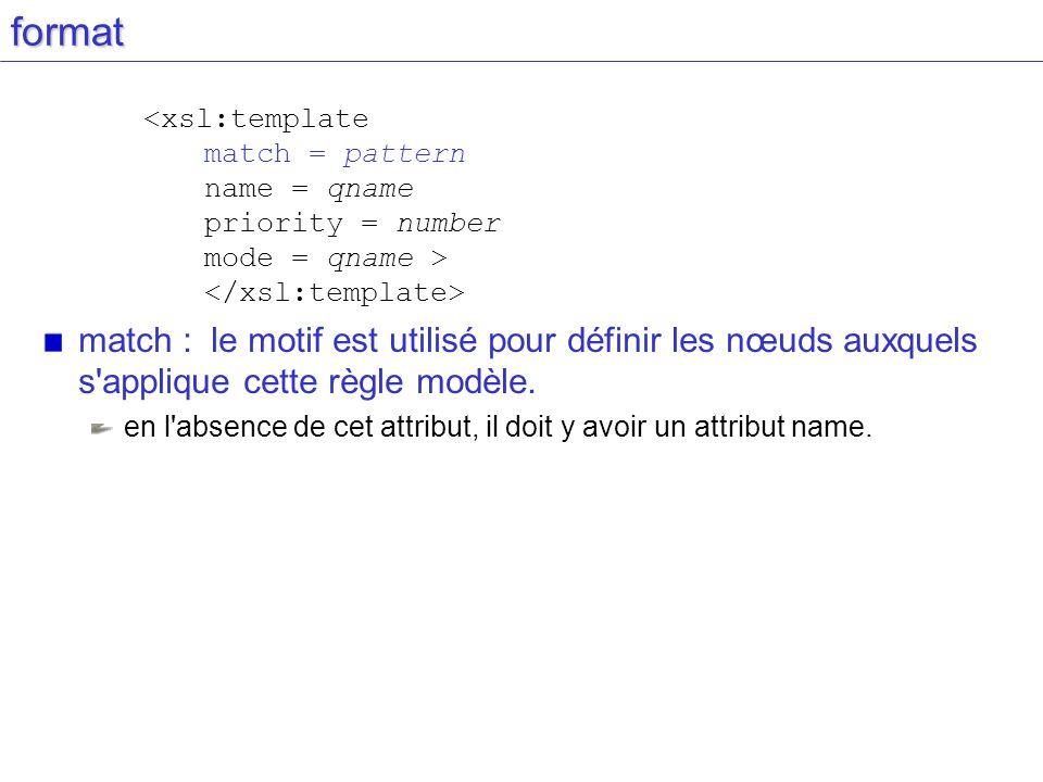 format match : le motif est utilisé pour définir les nœuds auxquels s'applique cette règle modèle. en l'absence de cet attribut, il doit y avoir un at