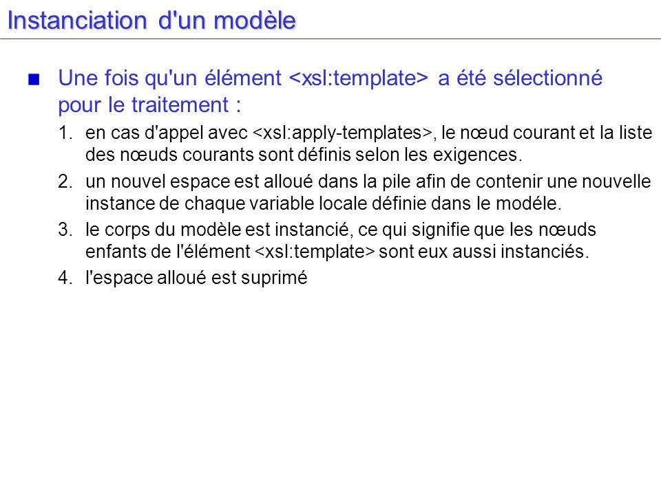 Instanciation d'un modèle Une fois qu'un élément a été sélectionné pour le traitement : 1.en cas d'appel avec, le nœud courant et la liste des nœuds c