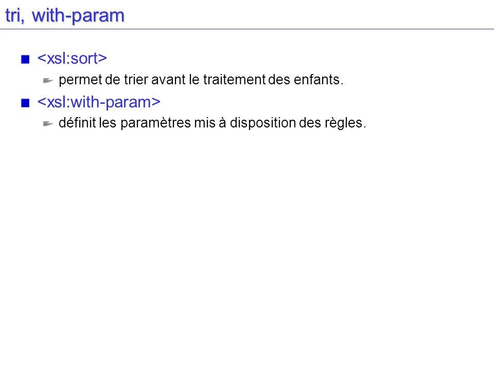 tri, with-param permet de trier avant le traitement des enfants. définit les paramètres mis à disposition des règles.