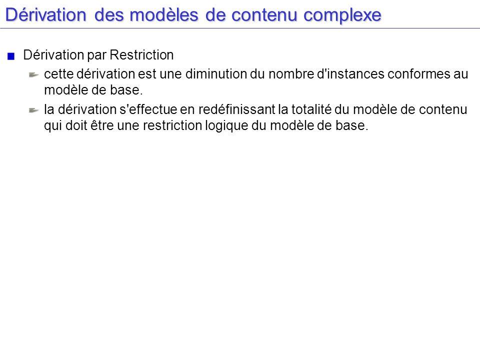 Dérivation des modèles de contenu complexe Dérivation par Restriction cette dérivation est une diminution du nombre d'instances conformes au modèle de