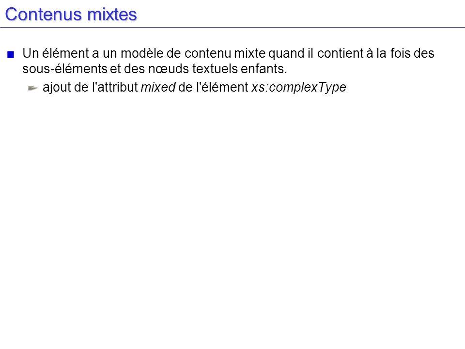 Contenus mixtes Un élément a un modèle de contenu mixte quand il contient à la fois des sous-éléments et des nœuds textuels enfants. ajout de l'attrib
