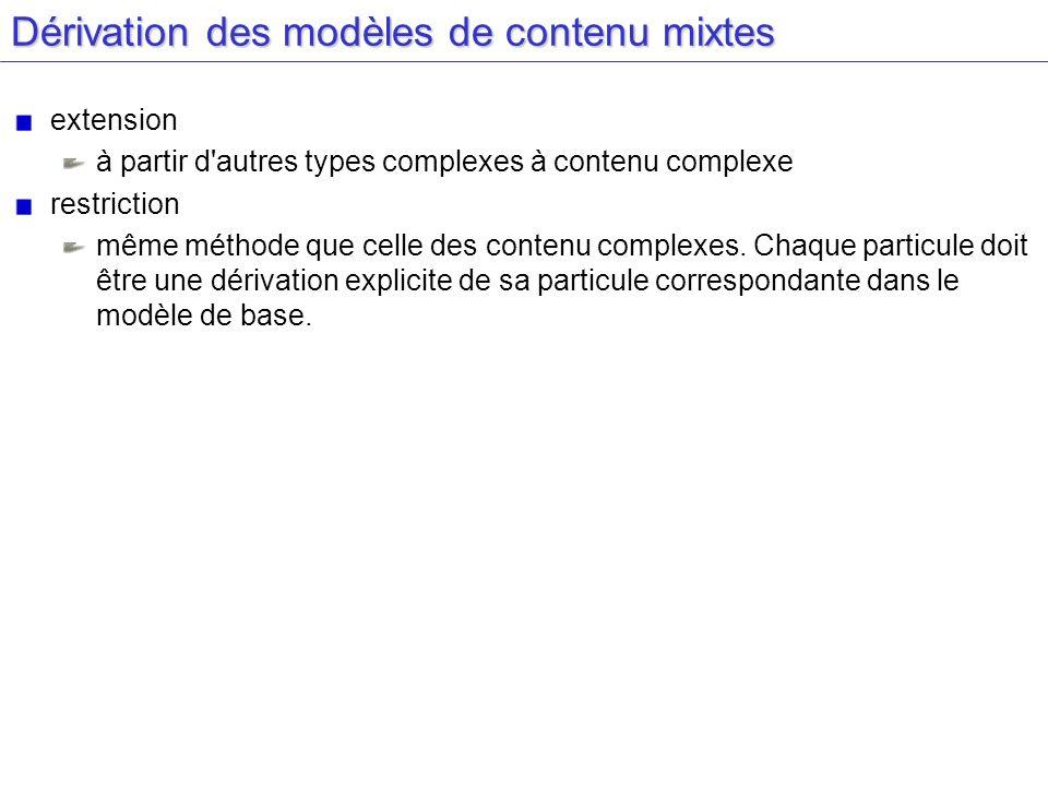 Dérivation des modèles de contenu mixtes extension à partir d'autres types complexes à contenu complexe restriction même méthode que celle des contenu
