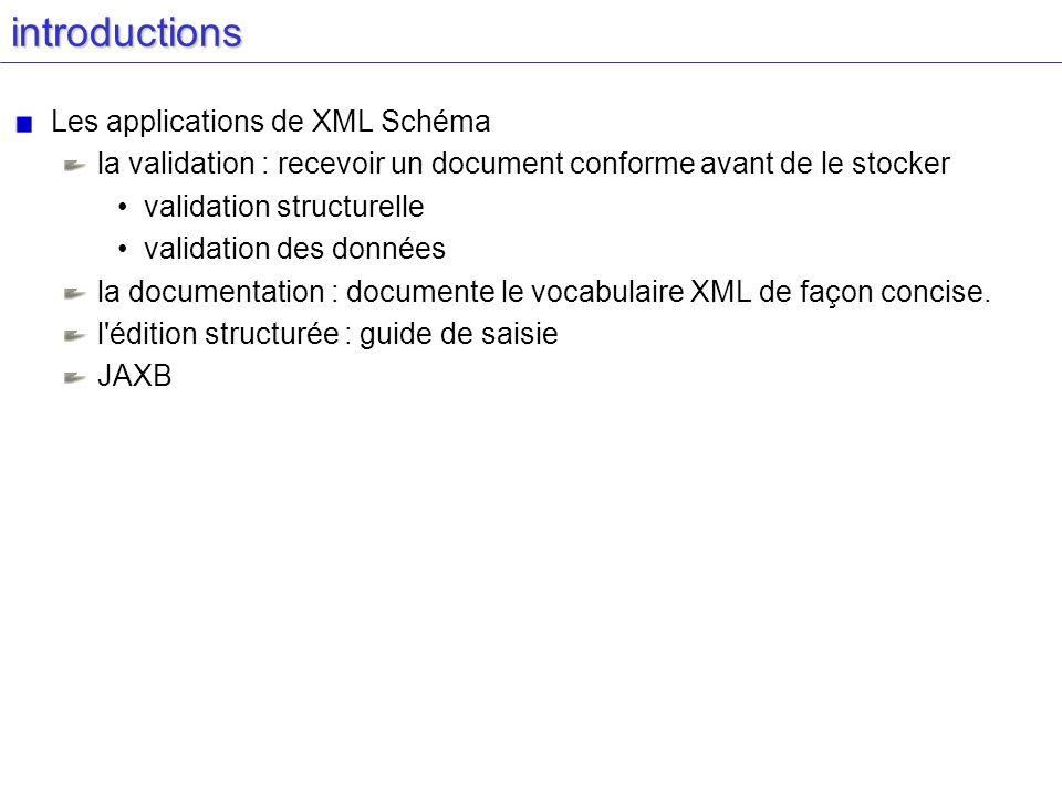 introductions Les applications de XML Schéma la validation : recevoir un document conforme avant de le stocker validation structurelle validation des