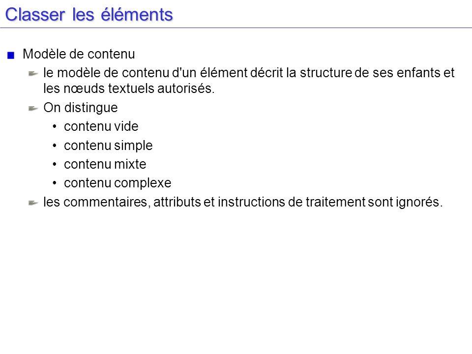 Classer les éléments Modèle de contenu le modèle de contenu d'un élément décrit la structure de ses enfants et les nœuds textuels autorisés. On distin