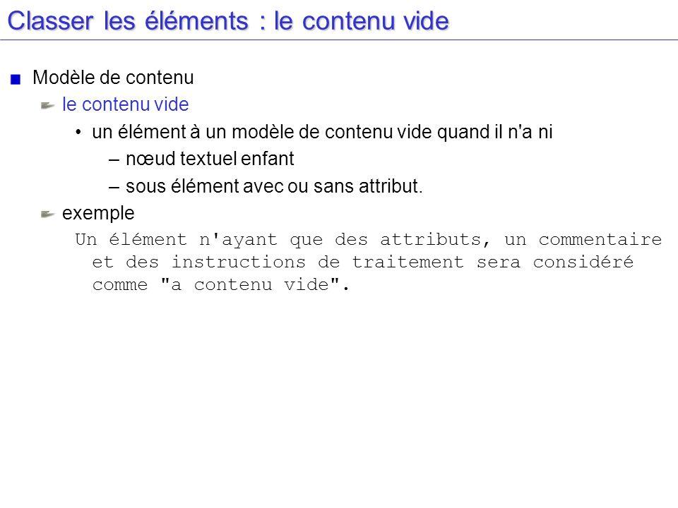Classer les éléments : le contenu vide Modèle de contenu le contenu vide un élément à un modèle de contenu vide quand il n'a ni –nœud textuel enfant –