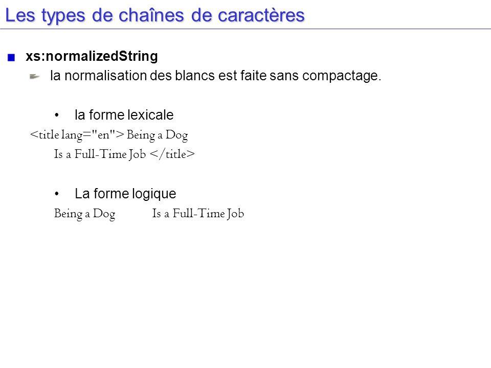 Les types de chaînes de caractères xs:normalizedString la normalisation des blancs est faite sans compactage. la forme lexicale Being a Dog Is a Full-