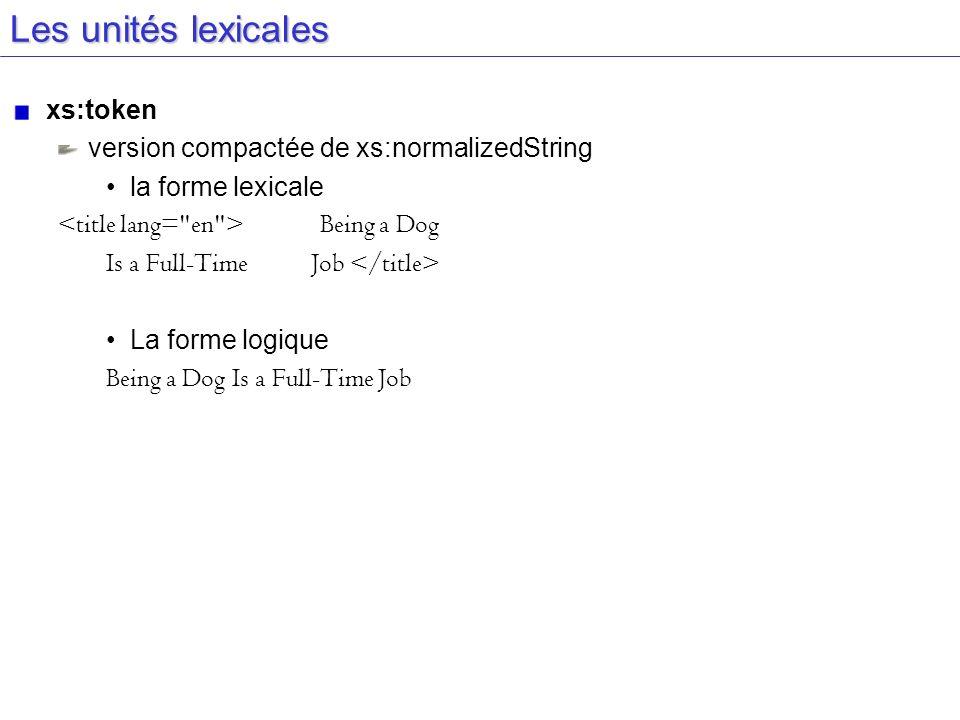 Les unités lexicales xs:token version compactée de xs:normalizedString la forme lexicale Being a Dog Is a Full-Time Job La forme logique Being a Dog I