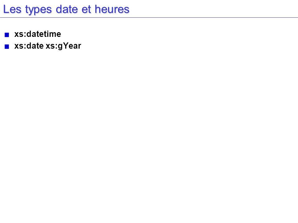 Les types date et heures xs:datetime xs:date xs:gYear