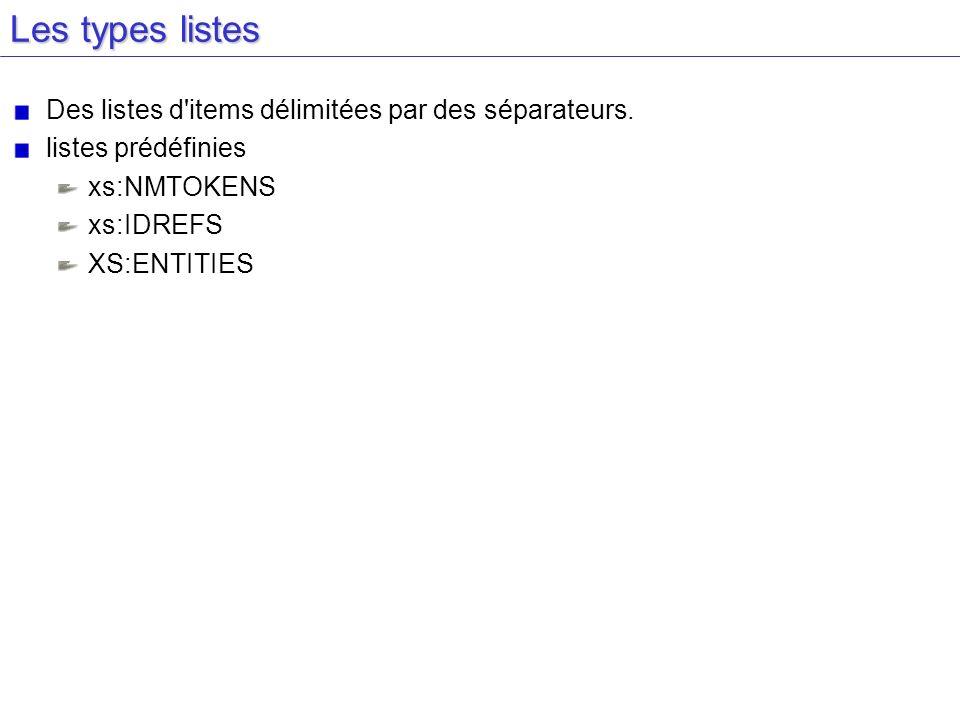 Les types listes Des listes d'items délimitées par des séparateurs. listes prédéfinies xs:NMTOKENS xs:IDREFS XS:ENTITIES
