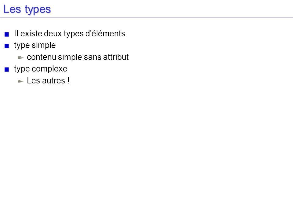 Les types Il existe deux types d'éléments type simple contenu simple sans attribut type complexe Les autres !