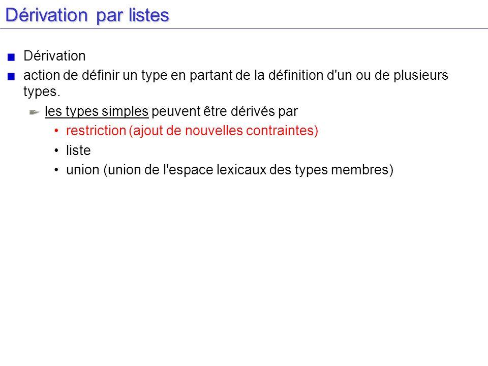 Dérivation par listes Dérivation action de définir un type en partant de la définition d'un ou de plusieurs types. les types simples peuvent être déri