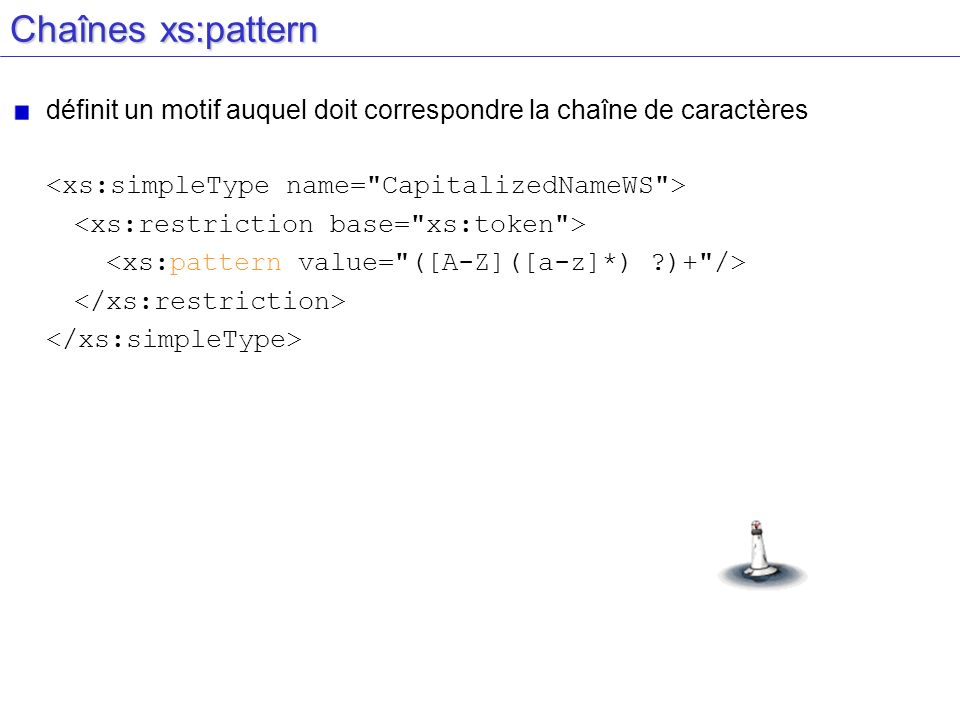 Chaînes xs:pattern définit un motif auquel doit correspondre la chaîne de caractères