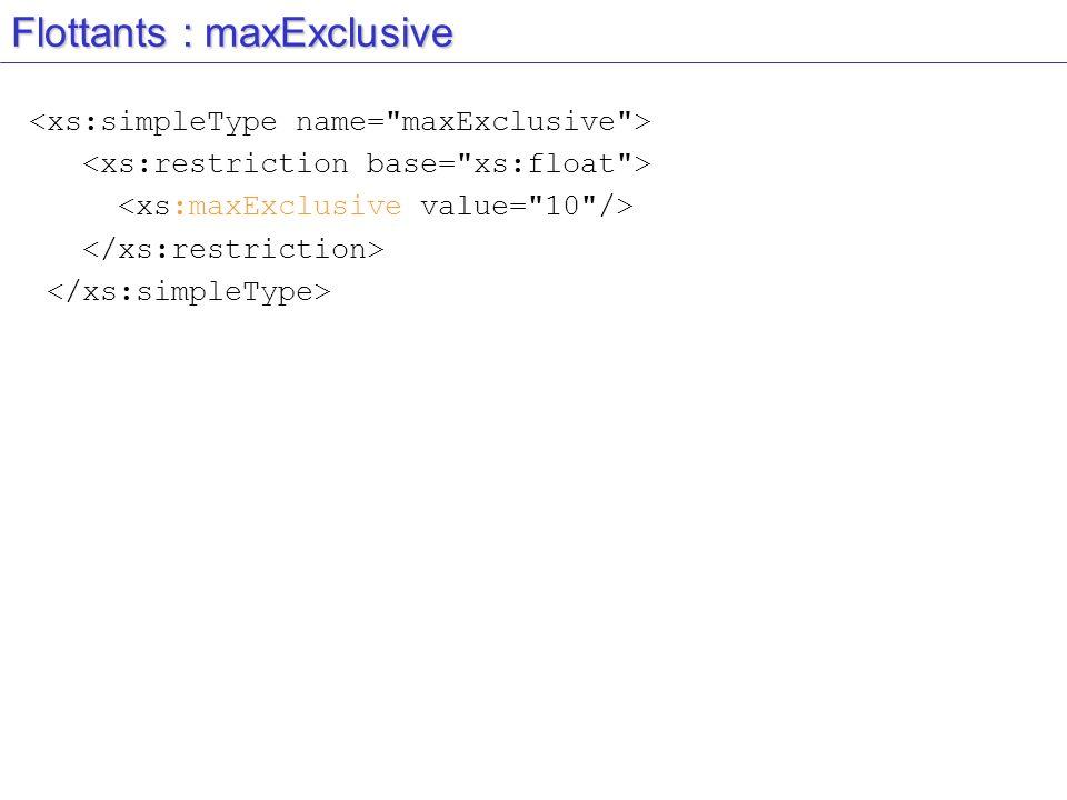 Flottants : maxExclusive