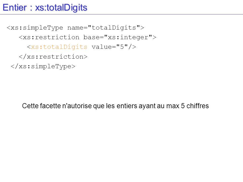 Entier : xs:totalDigits Cette facette n'autorise que les entiers ayant au max 5 chiffres