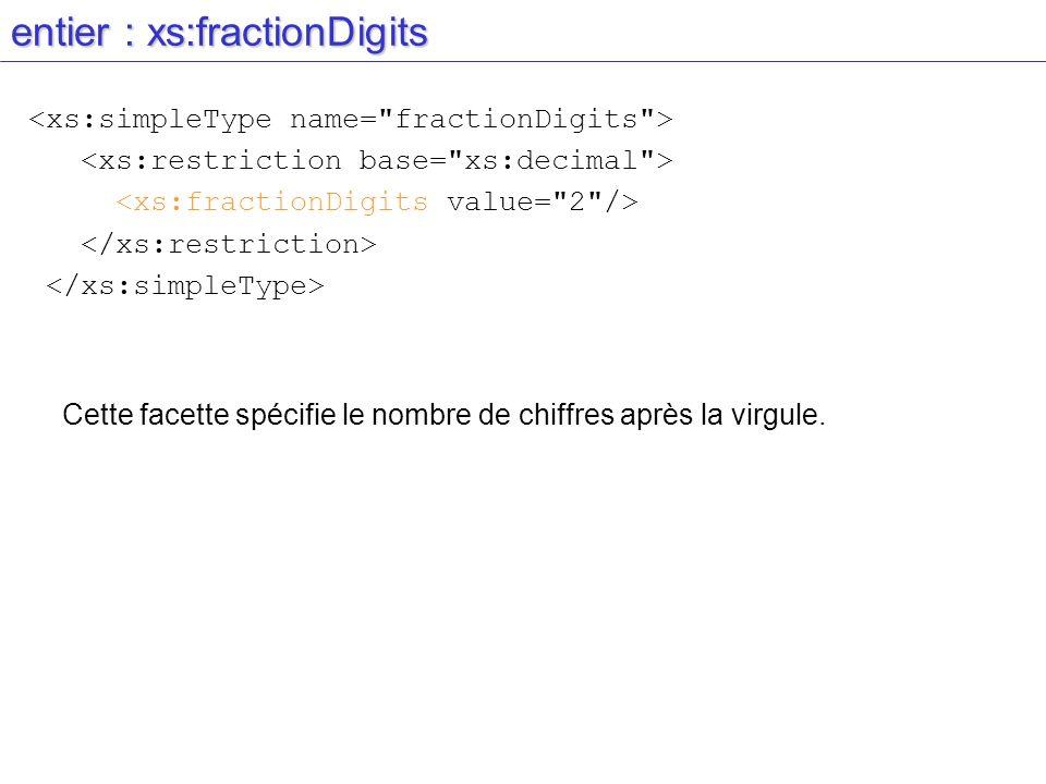 entier : xs:fractionDigits Cette facette spécifie le nombre de chiffres après la virgule.