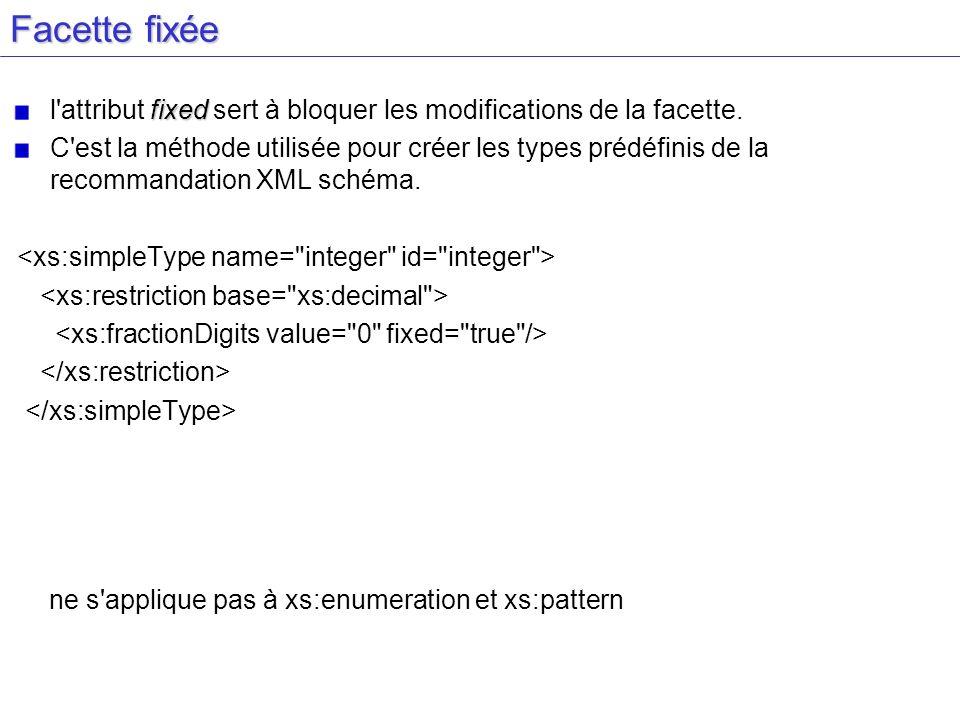 Facette fixée fixed l'attribut fixed sert à bloquer les modifications de la facette. C'est la méthode utilisée pour créer les types prédéfinis de la r