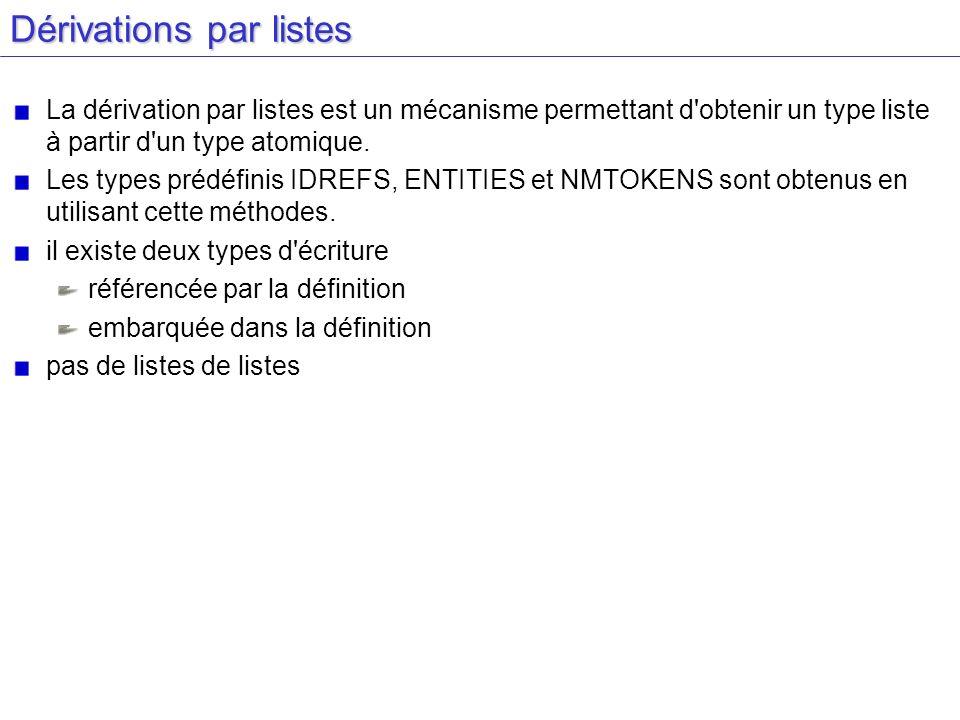 Dérivations par listes La dérivation par listes est un mécanisme permettant d'obtenir un type liste à partir d'un type atomique. Les types prédéfinis