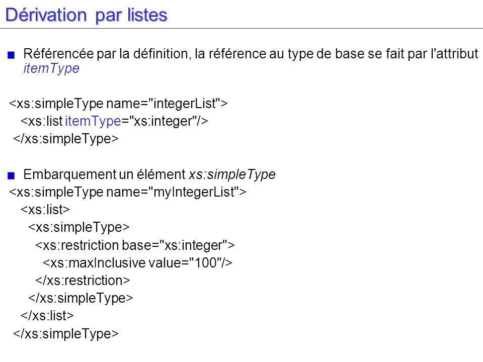 Dérivation par listes Référencée par la définition, la référence au type de base se fait par l'attribut itemType Embarquement un élément xs:simpleType