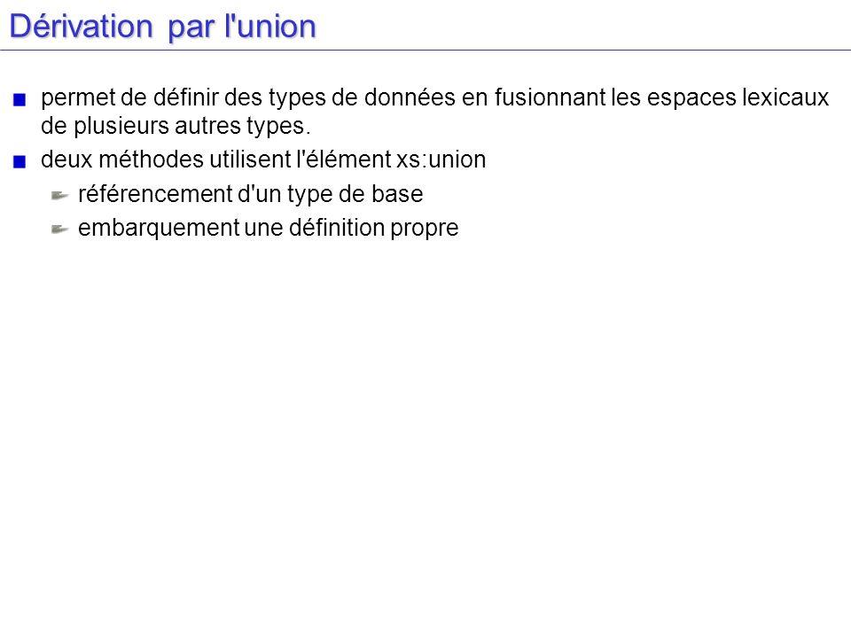 Dérivation par l'union permet de définir des types de données en fusionnant les espaces lexicaux de plusieurs autres types. deux méthodes utilisent l'