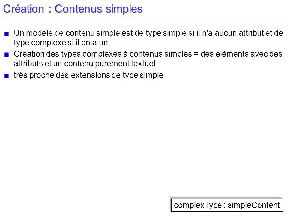 Création : Contenus simples Un modèle de contenu simple est de type simple si il n'a aucun attribut et de type complexe si il en a un. Création des ty