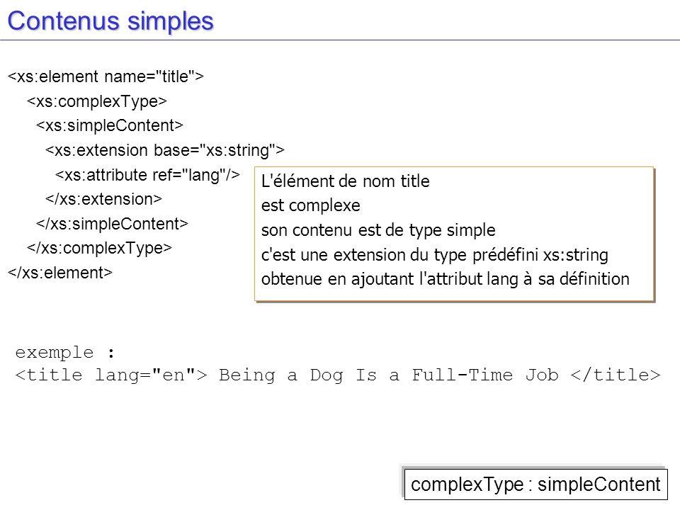 Contenus simples L'élément de nom title est complexe son contenu est de type simple c'est une extension du type prédéfini xs:string obtenue en ajoutan