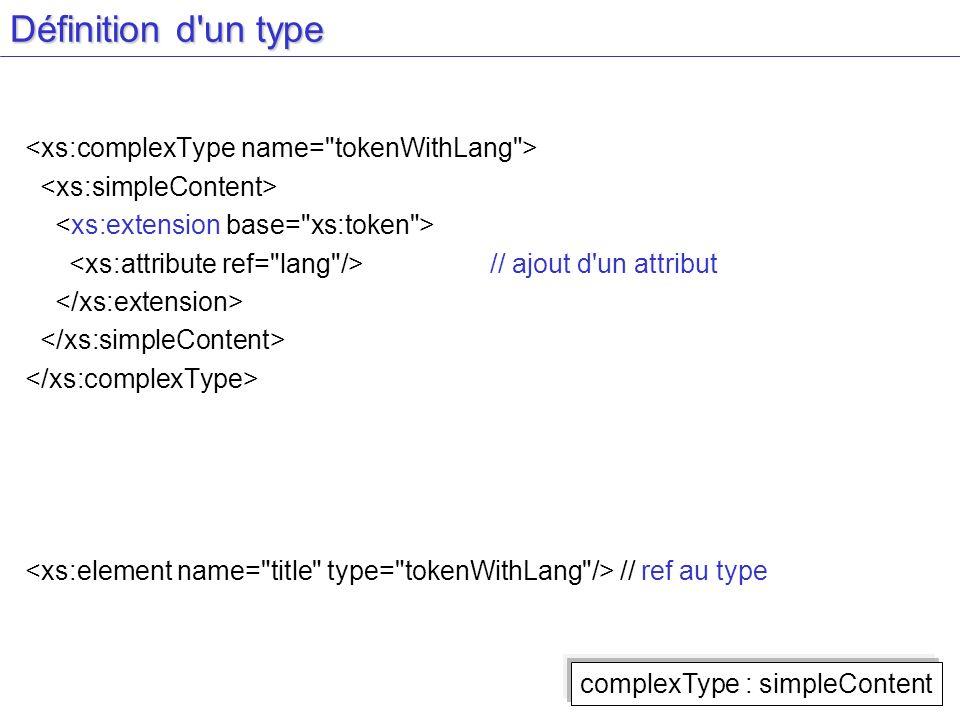 Définition d'un type // ajout d'un attribut // ref au type complexType : simpleContent