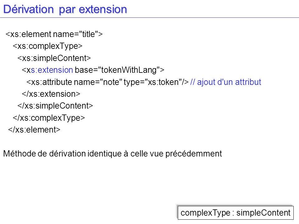 Dérivation par extension // ajout d'un attribut Méthode de dérivation identique à celle vue précédemment complexType : simpleContent