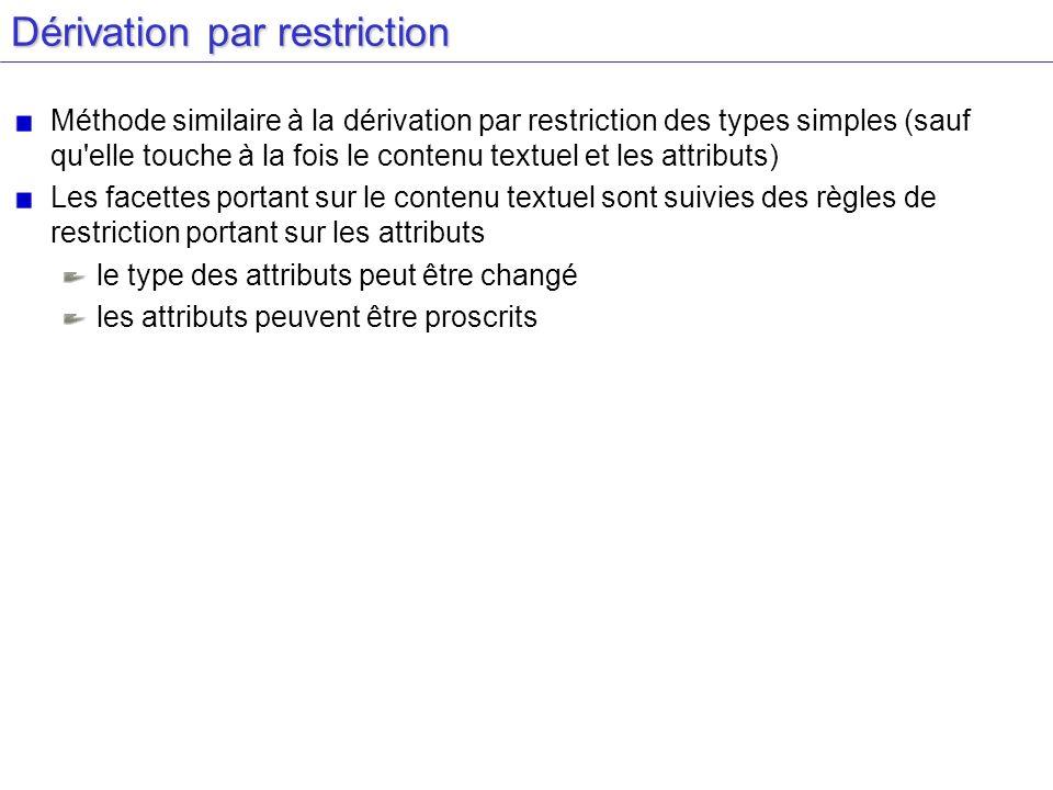 Dérivation par restriction Méthode similaire à la dérivation par restriction des types simples (sauf qu'elle touche à la fois le contenu textuel et le