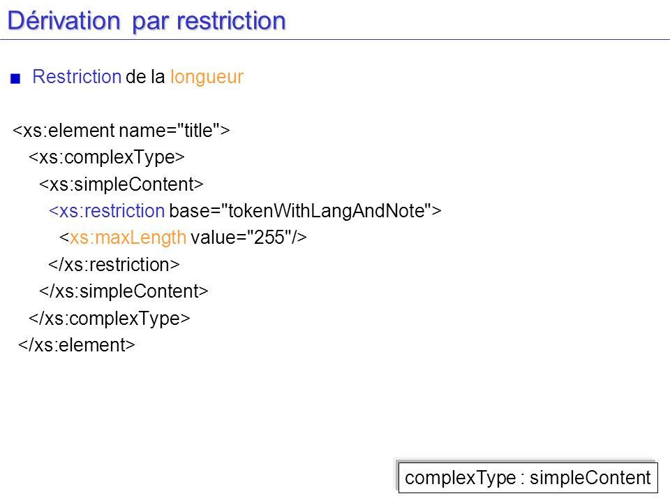 Dérivation par restriction Restriction de la longueur complexType : simpleContent