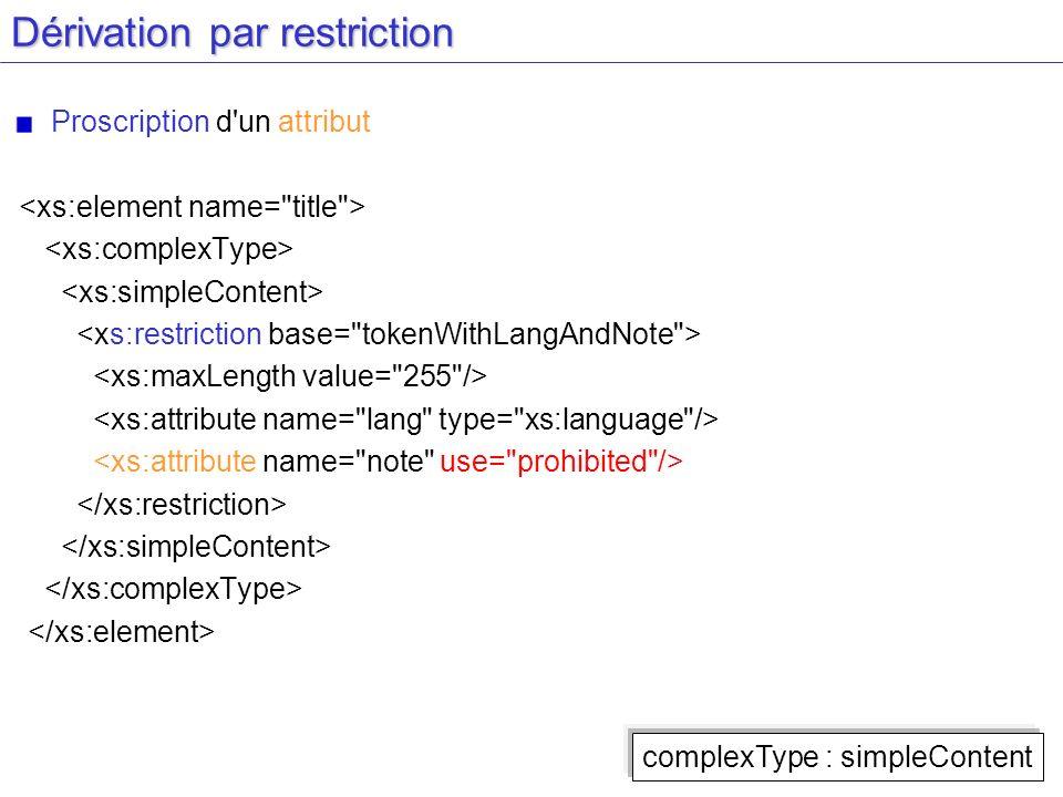 Dérivation par restriction Proscription d'un attribut complexType : simpleContent