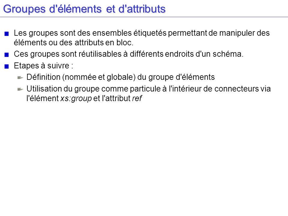 Groupes d'éléments et d'attributs Les groupes sont des ensembles étiquetés permettant de manipuler des éléments ou des attributs en bloc. Ces groupes
