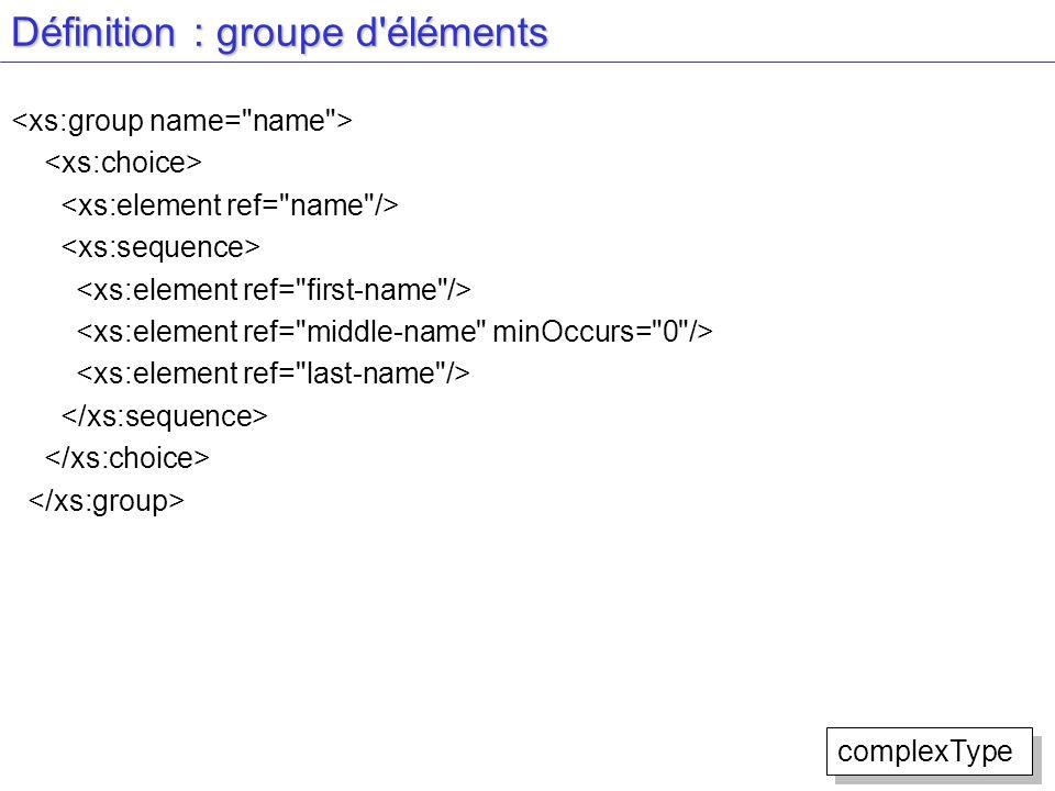 Définition : groupe d'éléments complexType