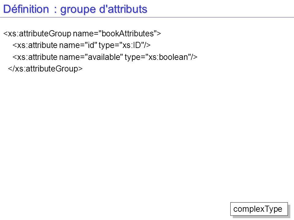 Définition : groupe d'attributs complexType