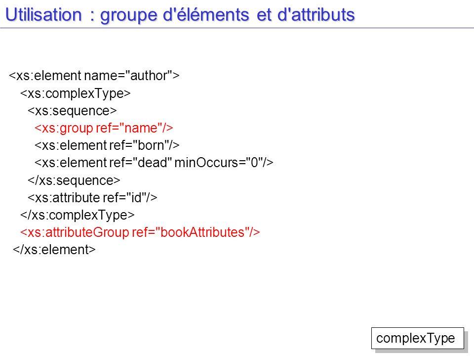 Utilisation : groupe d'éléments et d'attributs complexType
