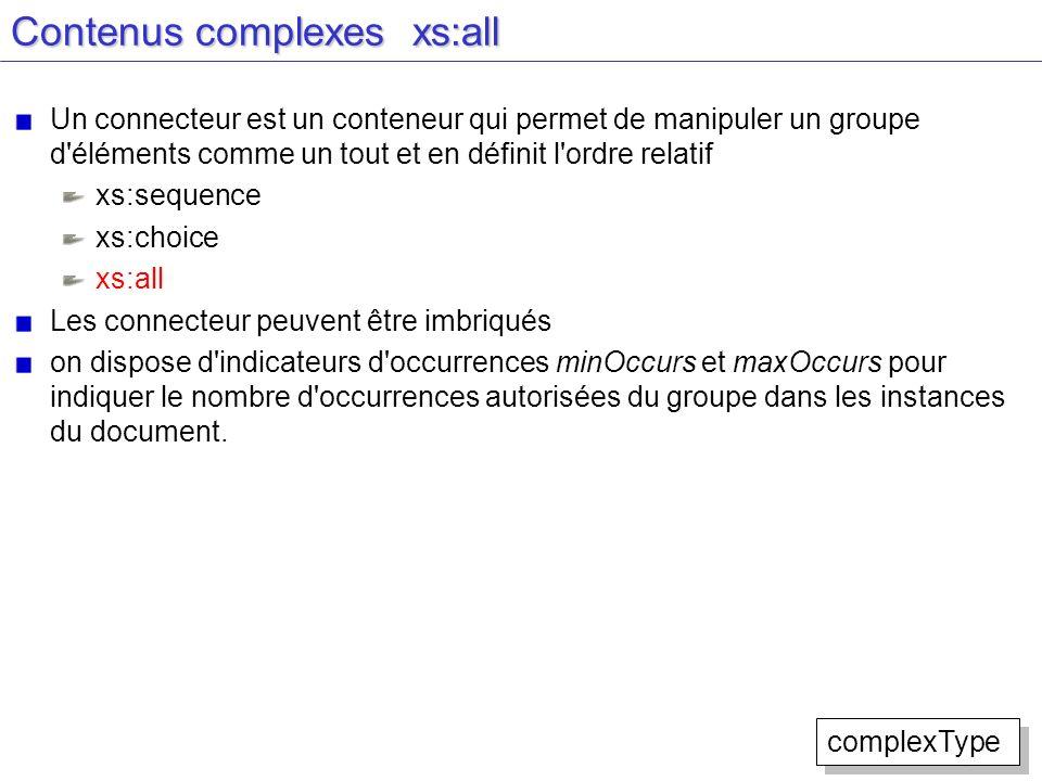 Contenus complexes xs:all Un connecteur est un conteneur qui permet de manipuler un groupe d'éléments comme un tout et en définit l'ordre relatif xs:s