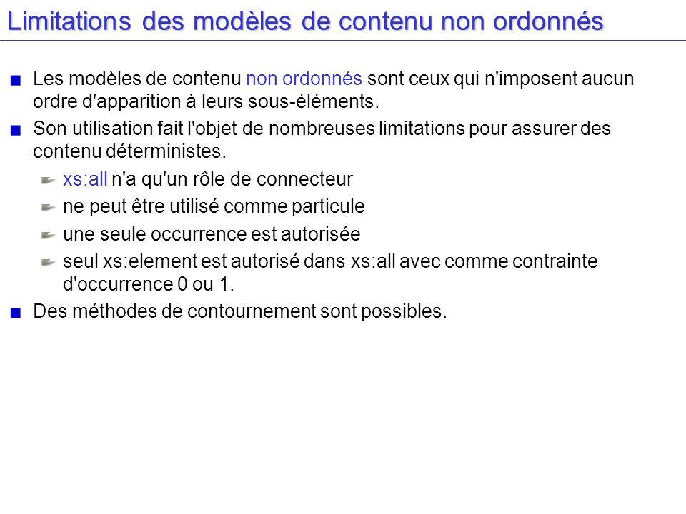 Limitations des modèles de contenu non ordonnés Les modèles de contenu non ordonnés sont ceux qui n'imposent aucun ordre d'apparition à leurs sous-élé
