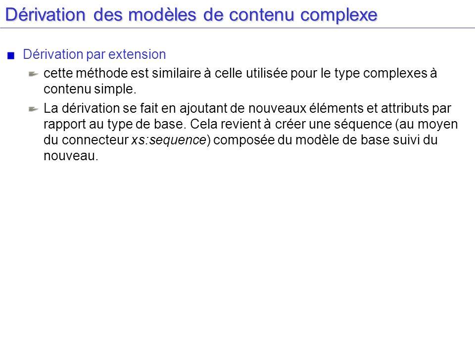 Dérivation des modèles de contenu complexe Dérivation par extension cette méthode est similaire à celle utilisée pour le type complexes à contenu simp