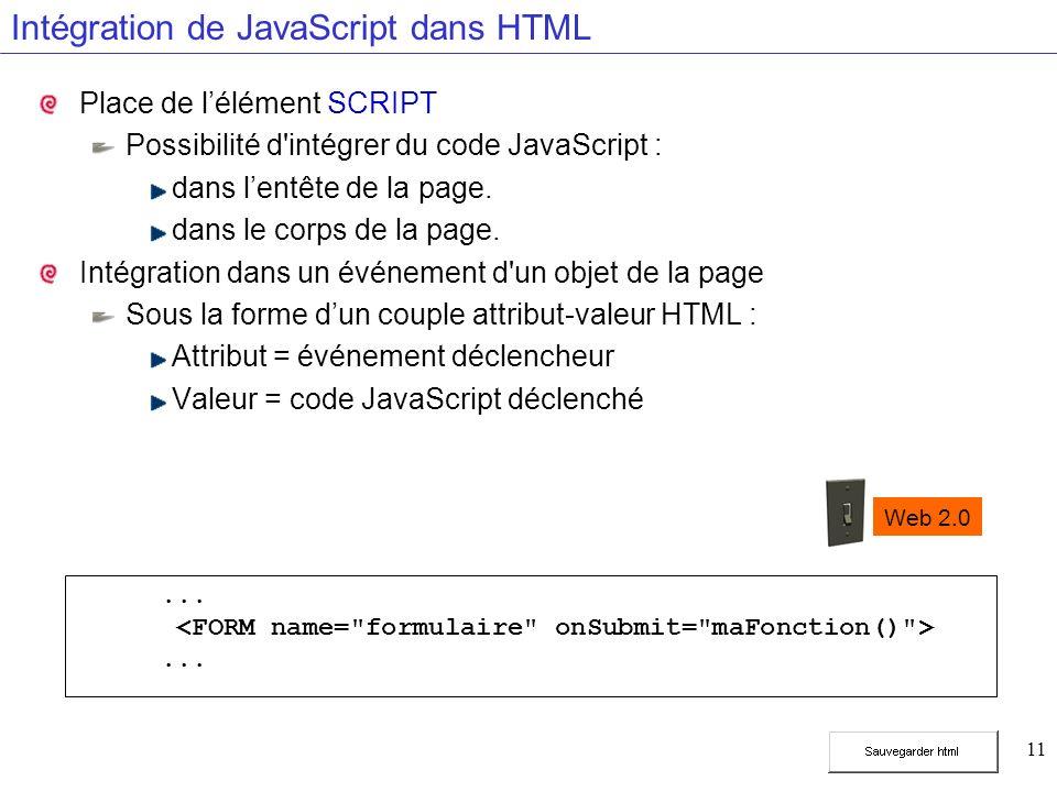 11 Intégration de JavaScript dans HTML Place de lélément SCRIPT Possibilité d'intégrer du code JavaScript : dans lentête de la page. dans le corps de