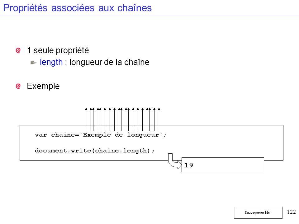 122 Propriétés associées aux chaînes 1 seule propriété length : longueur de la chaîne Exemple var chaine= Exemple de longueur ; document.write(chaine.length); 19