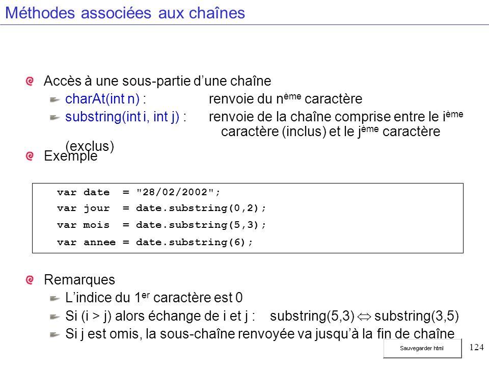 124 Méthodes associées aux chaînes Accès à une sous-partie dune chaîne charAt(int n) : renvoie du n ème caractère substring(int i, int j) : renvoie de la chaîne comprise entre le i ème caractère (inclus) et le j ème caractère (exclus) Exemple Remarques Lindice du 1 er caractère est 0 Si (i > j) alors échange de i et j :substring(5,3) substring(3,5) Si j est omis, la sous-chaîne renvoyée va jusquà la fin de chaîne var date = 28/02/2002 ; var jour = date.substring(0,2); var mois = date.substring(5,3); var annee = date.substring(6);