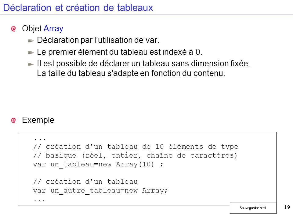 19 Déclaration et création de tableaux Objet Array Déclaration par lutilisation de var. Le premier élément du tableau est indexé à 0. Il est possible