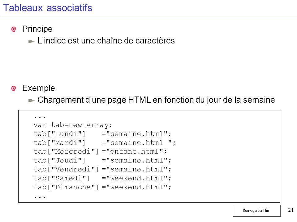 21 Tableaux associatifs Principe Lindice est une chaîne de caractères Exemple Chargement dune page HTML en fonction du jour de la semaine... var tab=n