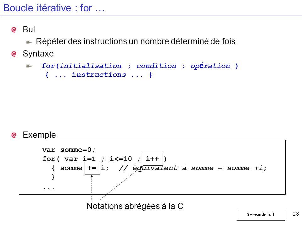 28 Boucle itérative : for … But Répéter des instructions un nombre déterminé de fois. Syntaxe for(initialisation ; condition ; op é ration ) {... inst