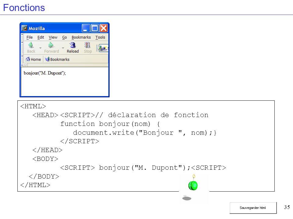 35 Fonctions // déclaration de fonction function bonjour(nom) { document.write(