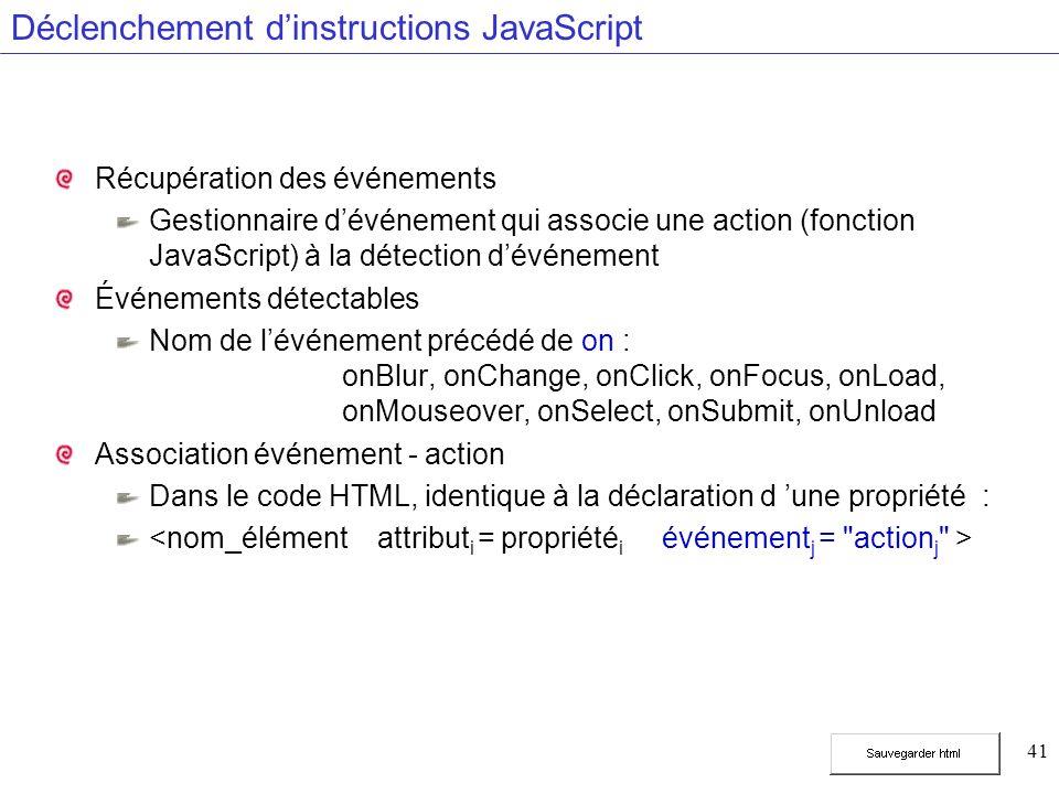 41 Déclenchement dinstructions JavaScript Récupération des événements Gestionnaire dévénement qui associe une action (fonction JavaScript) à la détection dévénement Événements détectables Nom de lévénement précédé de on : onBlur, onChange, onClick, onFocus, onLoad, onMouseover, onSelect, onSubmit, onUnload Association événement - action Dans le code HTML, identique à la déclaration d une propriété :