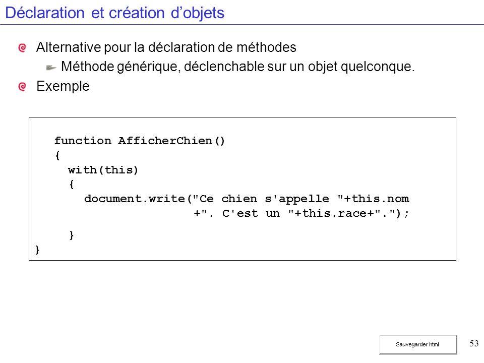 53 Déclaration et création dobjets Alternative pour la déclaration de méthodes Méthode générique, déclenchable sur un objet quelconque. Exemple functi