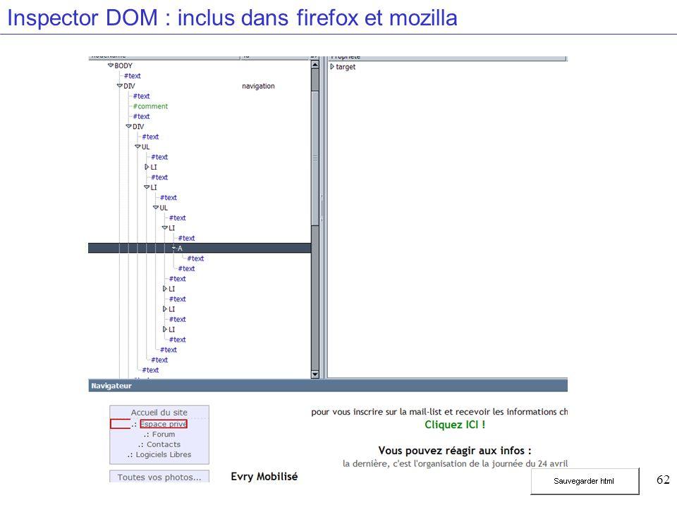62 Inspector DOM : inclus dans firefox et mozilla